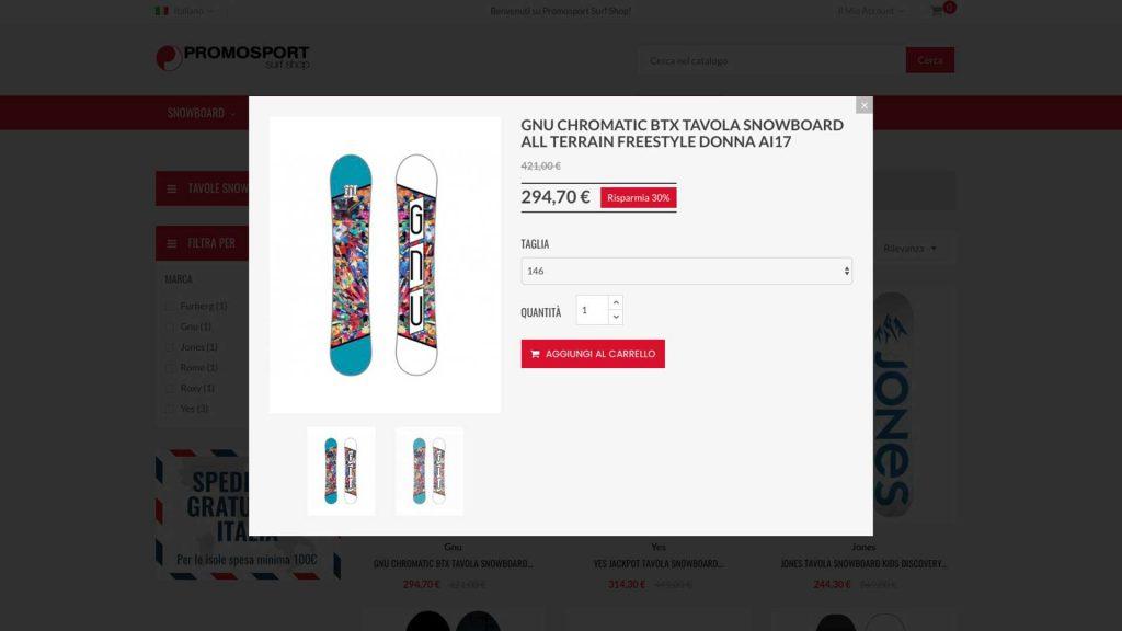 Promosport ecommerce sito - Anteprima prodotto