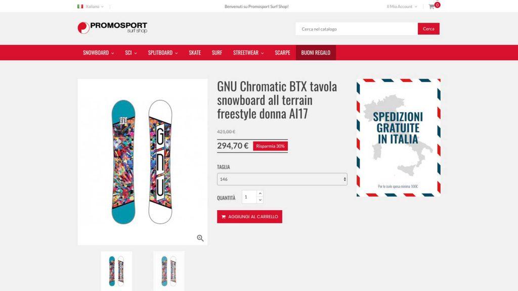 Promosport ecommerce sito - Dettaglio articolo