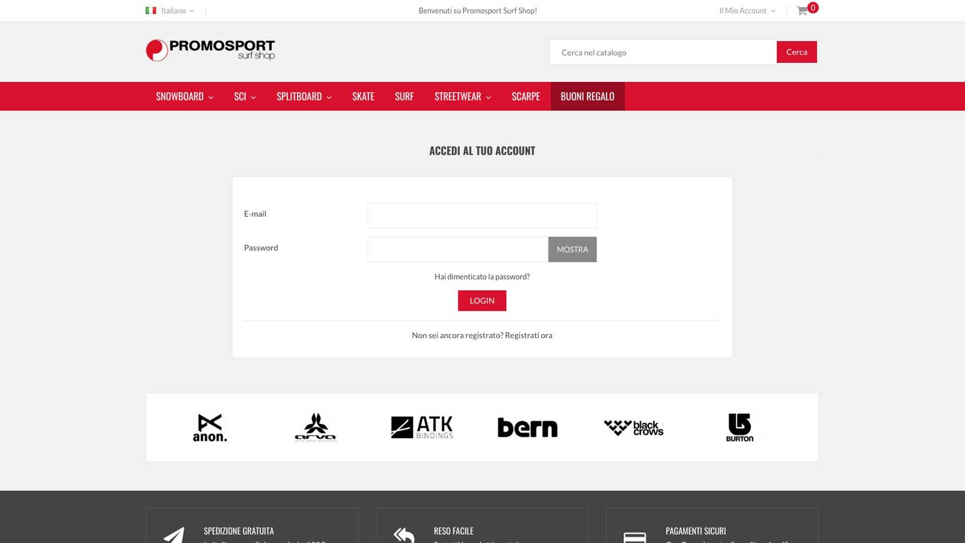 Promosport ecommerce sito - area personale