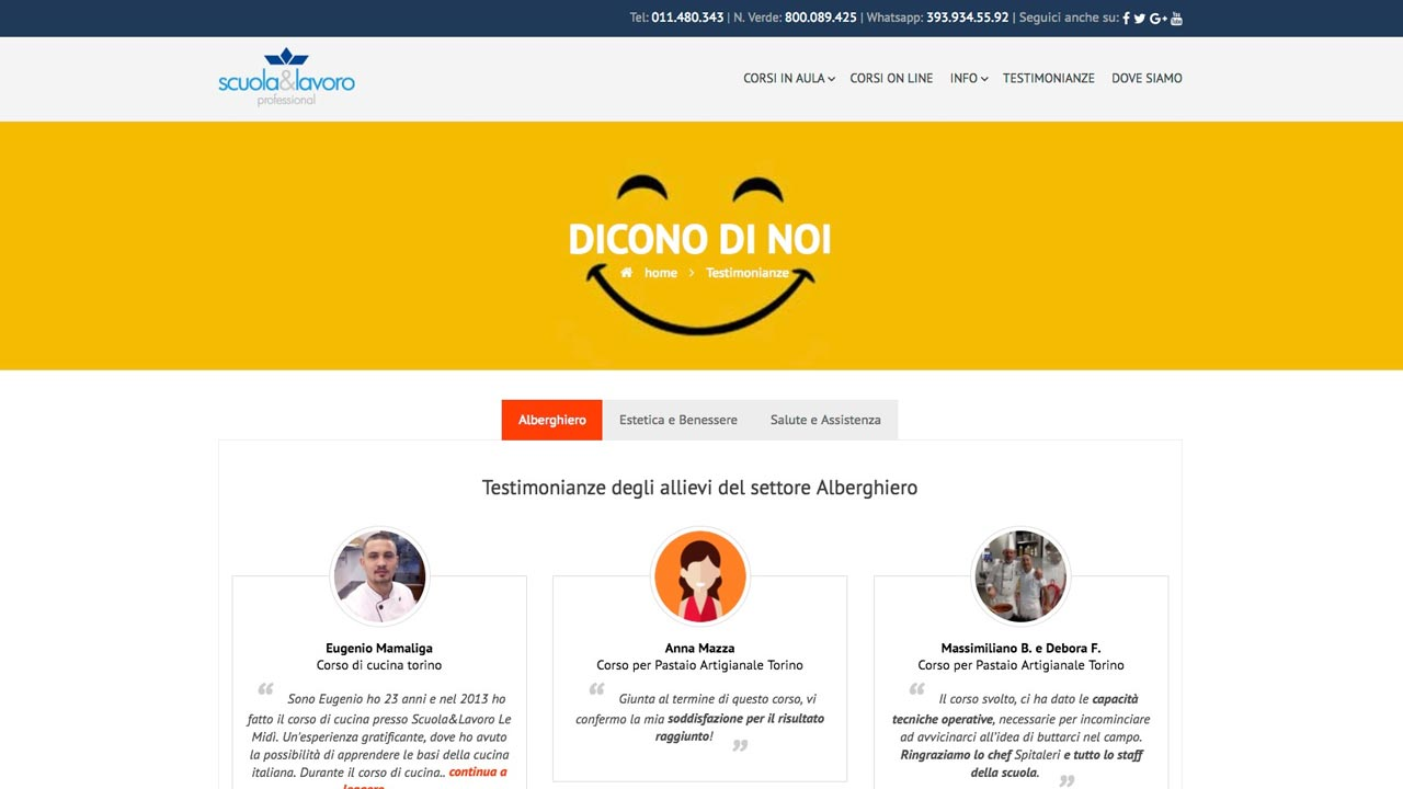 Pagina Testimonianze - Sito web - Scuola e Lavoro